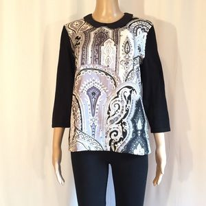 J. McLaughlin Black, White and Gray Print Top